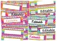 Rainbow Striped Bright Neon Themed editable nameplates