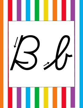 Rainbow Striped Cursive Alphabet