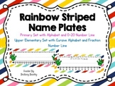 Rainbow Striped Name Plates with Alphabet and Number Line *Editable*