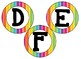 "Rainbow Striped Neon 4"" circular bb letters and editable bulletin board banner"