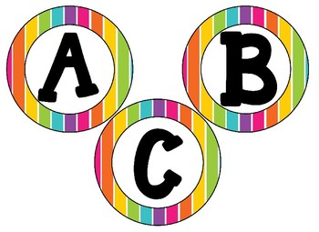"Rainbow Striped Neon 4"" circular bb letters and editable bulletin board banner"