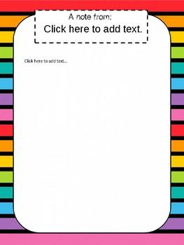 Rainbow Striped Theme Classroom Decor Pack (Editable!! )