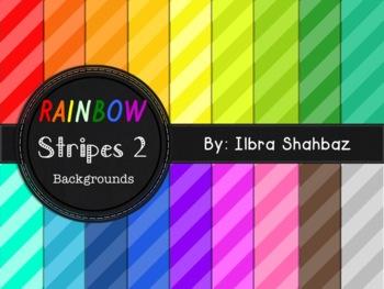 Rainbow Stripes 2 Digital Paper Backgrounds