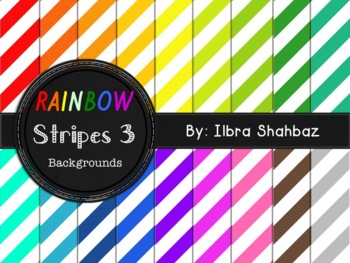 Rainbow Stripes 3 Digital Paper Backgrounds