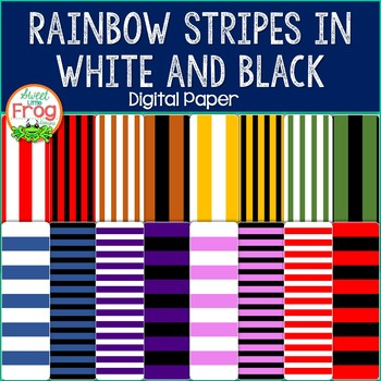 Rainbow White and Black Stripes Digital Paper