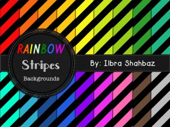 Rainbow Stripes Digital Paper Backgrounds