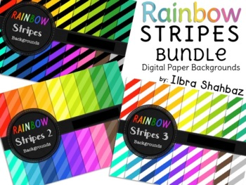 Rainbow Stripes Digital Paper Backgrounds {BUNDLE}