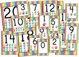 Rainbow Stripes Numbers 0 to 20 Posters