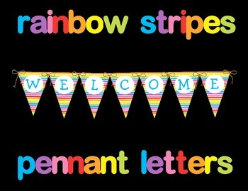 Rainbow Stripes Pennant Letters