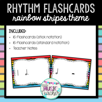 "Rainbow Stripes Rhythm Flashcards ""Dotted Half Note & Whole Note"""