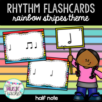 "Rainbow Stripes Rhythm Flashcards ""Half Note, Ta-a, To-o"""