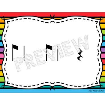 """Rainbow Stripes Rhythm Flashcards """"Sy-co-pa"""""""