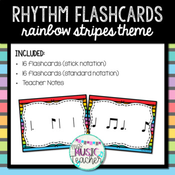 """Rainbow Stripes Rhythm Flashcards """"Tam-Ti"""""""