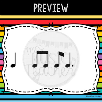 "Rainbow Stripes Rhythm Flashcards ""Ti-Tam"""