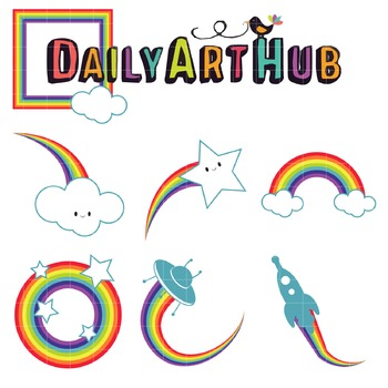 Rainbow Style Clip Art - Great for Art Class Projects!