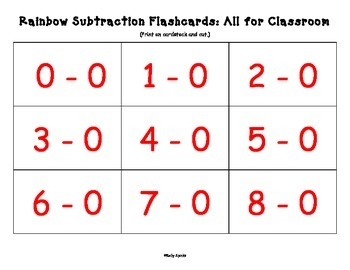 Rainbow Subtraction: For mastery of all differences to ten (includes flashcards)