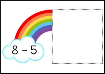Rainbow Subtraction within 10 Task Box Activity