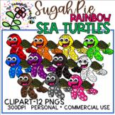 Rainbow SugahPie Sea Turtles - KGJ Clipart