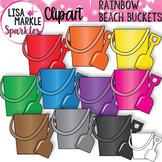 Rainbow Summer Beach Bucket and Shovel Clipart
