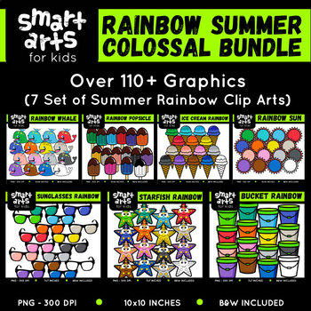 Rainbow Summer Clip Arts COLOSSAL Bundle