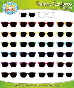 Rainbow Sunglasses Clipart {Zip-A-Dee-Doo-Dah Designs}