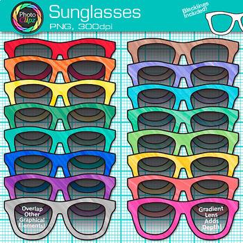 Sunglasses rainbow. Clip art summer beach