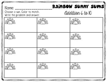 Rainbow Sunny Sums Kindergarten First Addition to 10