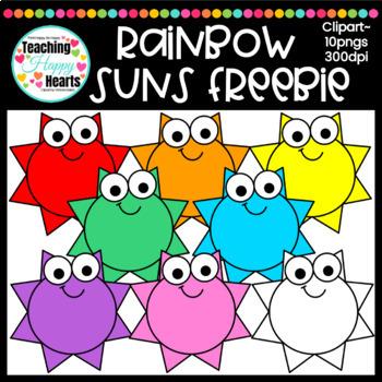 Rainbow Suns Clipart Freebie