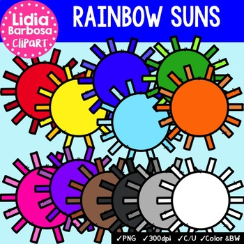 Rainbow Suns- Digital Clipart