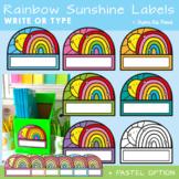 Rainbow Sunshine Classroom Labels or Name Tags - Editable