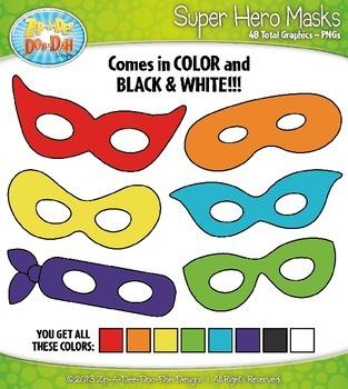Rainbow Super Hero Mask Clip Art Set — Over 45 Graphics!