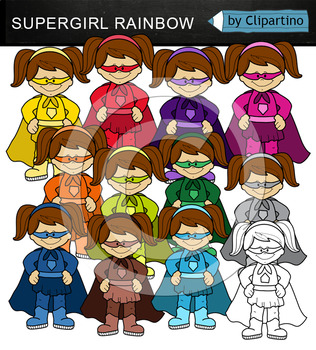 Rainbow Supergirls clipart (standing)