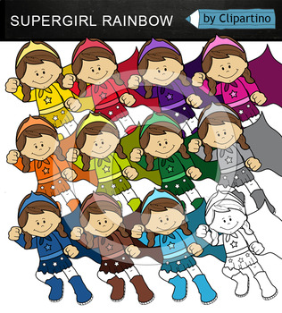 Rainbow Superhero girl (jumping)