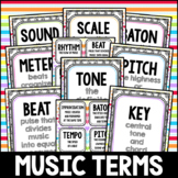 Rainbow Swirl Music Terms Flashcards, Posters, Centers, February, Rainbow
