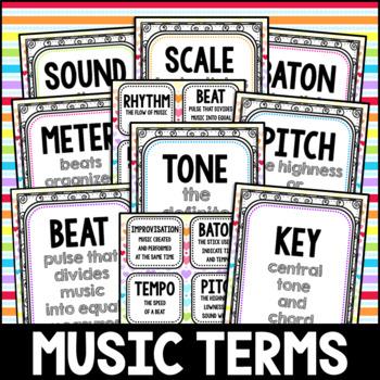 Rainbow Swirl Music Terms Flashcards, Posters, Centers, February, Rainbow