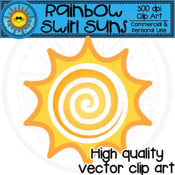 Rainbow Swirl Suns Clip Art