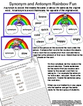 Literacy Center - Rainbow Synonyms and Antonyms