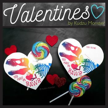 Rainbow T Rex Skull Heart Valentines