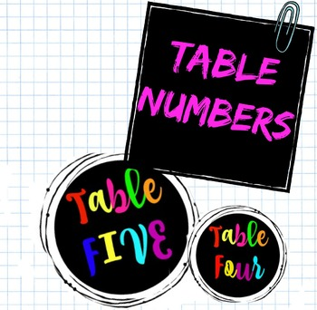 Back to School: Group Table Numbers Rainbow Theme