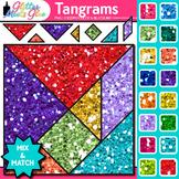 Tangrams Clip Art {Brain Teasers, Geometry Games, Logic Puzzles, Math Graphics}