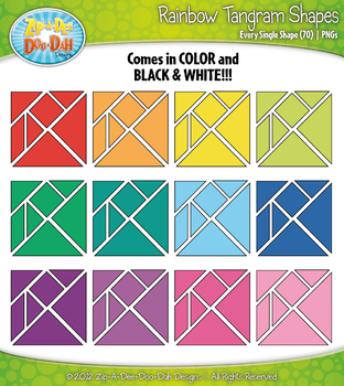 Rainbow Tangram Shapes Clipart — Includes 70 Colorful Graphics!