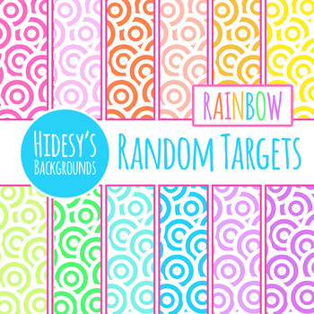 Rainbow Target Backgrounds / Digital Papers Clip Art Set for Commercial Use