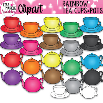 Rainbow Tea Cups and Tea Pots Clipart