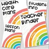 Editable Rainbow Teacher Binder Covers