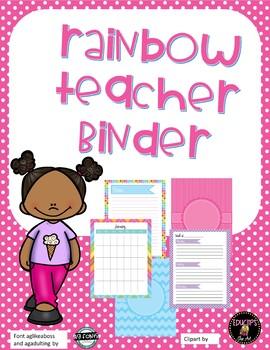Rainbow Teacher Binder Planner