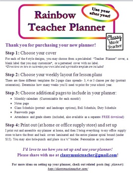 Rainbow Teacher Planner