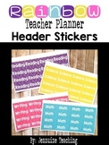 Rainbow Teacher Planner Header Stickers