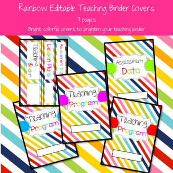 Rainbow Teaching Binder Covers