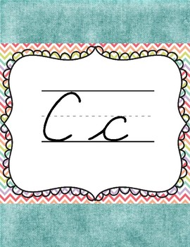 Rainbow Teal Cursive Letters for the Classroom
