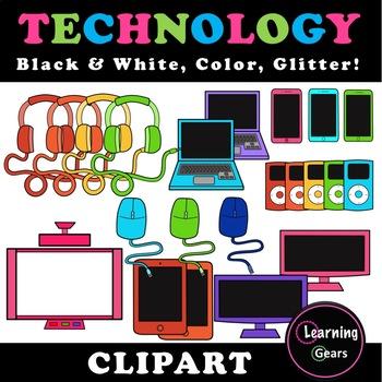 Rainbow Technology Clipart - Black & White, Color, Glitter!